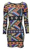 Women Ladies Celebrity Aztec African Tribal Print Bodycon Long Sleeve Mini Dress- SZ-8,10,12,14-£14.99