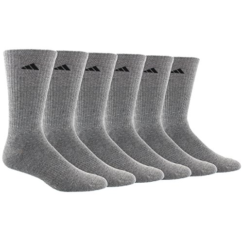 Adidas Men's Athletic Crew Socks (6 Pack), Heather Grey/Black, One Size