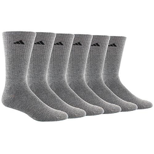 Adidas Men's Athletic Crew Socks (6 Pack), Heather Grey/Black, One Size