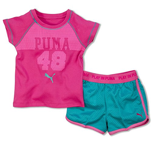 Puma Girls Casual Short Outfit Athletic Shorts and Dry Fit T-Shirt Set Hot Pink 4