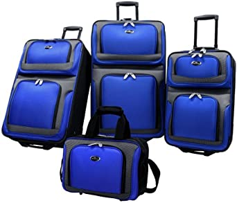 US Traveler New Yorker 4 Piece Luggage Set Expandable,Royal Blue,One Size