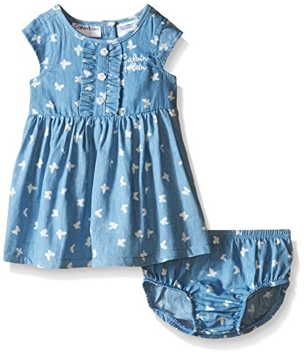 Calvin Klein Baby Girls' Butterfly Print Chambray Dress and Panty, Blue, 12 Months