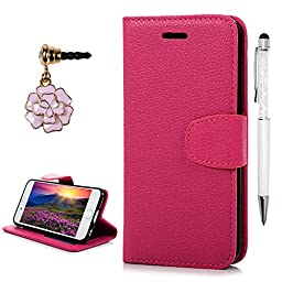 iPhone 6 Case,iPhone 6S Case, YOKIRIN Premium Soft PU Leather Notebook Wallet Cover Case with Kickstan Credit Card ID Slot Holder Magnetic Closure Folio Flip Protective Slim Skin Cover - Hot Pink