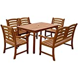 indoba® IND-70291-MOSE6 - Serie Montana - Gartenmöbel Set 6-teilig aus Holz FSC zertifiziert - 4 Gartenstühle + Gartenbank 2-Sitzer + rechteckiger Gartentisch mit Schirmöffnung