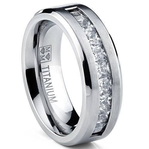 Titanium Men's Wedding Band Engagement Ring with 9 large Princess Cut Cubic Zirconia Size 10