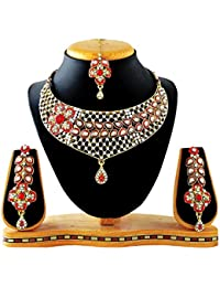 REEVA GLAMAROUS ANTIQUE GOLD PLATED NECKLACE SET WITH MAANG TIKKA