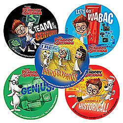 Mr. Peabody and Sherman Stickers Party Favors--75 Per Pack