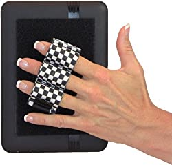 LAZY-HANDS® Heavy-Duty 3-Loop Grip (1 grip) for Readers & Mini Tablets - FITS MOST (Black & White Checkers)