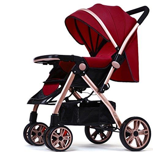 Spaziergänger können leichte, tragbare Klappkinderwagen Baby-Buggy Sommer sitzen liegen ( farbe : Rotwein )