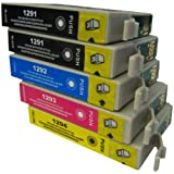 5 CiberDirect High Capacity Compatible Ink Cartridges for use with Epson WorkForce WF-3540DTWF Printers.