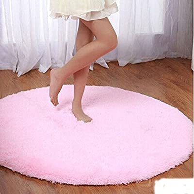 F-F Princess Dream Round Shaggy Area Rugs and Carpet Super Soft Bedroom Carpet with a Heart Rug,for Kids Play ,Round 47.2""