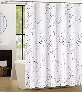 Tahari Sprigs Fabric Shower Curtain Gray Silver On White