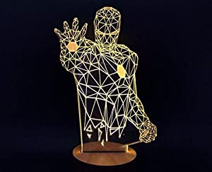 SHENNOSI® 3D Glow LED Lamp - Art Sculpture Lights Up in Produces Unique Lighting Effects and 3D visualization Amazing Optical Illusion (Iron man) from SHENNOSI®