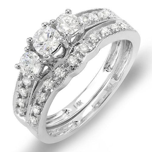 CERTIFIED 14K White Gold 3 Stone Ladies Round Diamond Engagement Ring Bridal Matching Band Set (1.00 cttw, F-G-H color, SI-I clarity)