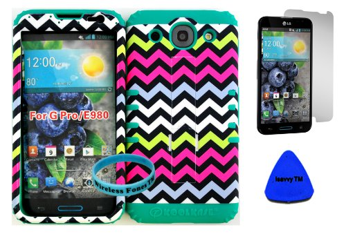 Lg Optimus G Pro E980 Barbie Chevron Design Hard Plastic Snap On + Teal Silicone Kickstand Cover Case (Included: Wristband, Screen Protector And Pry Tool Exclusively By Wirelessfones Tm) front-1033153