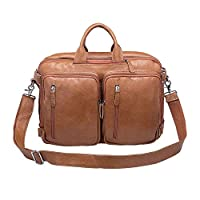 Vicenzio Classic Genuine Flex Leather Briefcase Messenger/Laptop Bag/ Backpack