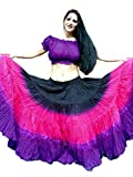 2pc Black Pink Purple Tie Dye 25 Yard Yards Tribal Gypsy Cotton Belly Dancing Dance Skirt & Choli Top