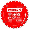 Freud D0724X Diablo 7-1/4-Inch 24 Tooth ATB Carbide Framing Saw Blade with 5/8-Inch and Diamond Knockout Arbor from Freud