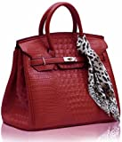Womens Red Twist Lock Faux Croc Leather Tote Office Handbag Long Strap KCMODE