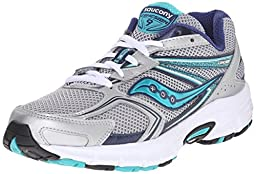 Saucony Women\'s Cohesion 9 Running Shoe, Silver/Navy/Teal, 9 M US