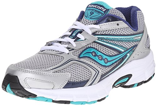 Saucony Women's Cohesion 9 Running Shoe, Silver/Navy/Teal, 6 M US