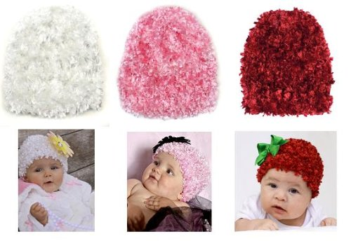 3 Pack Fluffy baby girl hats in White, Pink & Red 0-12 Months
