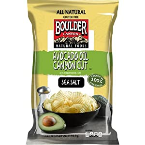 Boulder Canyon Cut Potato Chips, Avocado Oil and Sea Salt, 5.25 Ounce (Pack of 12)
