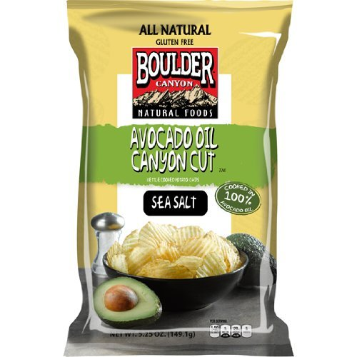 Boulder Canyon Cut Potato Chips, Avocado Oil and Sea Salt, 5.25 Ounce (Pack of 12) tropicana cold press coconut oil 100