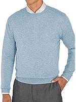 Paul Fredrick Men's 100% Cashmere Solid Crew Neck Sweater