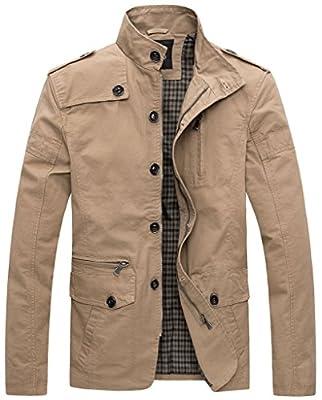 WantDo Men's Outercoat Jacket Solid Cotton Fashion