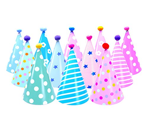 LOOTO-12-Pack-Party-HatsBirthday-Hats-for-Boys-Girls-Adults-Party-Decoration-Supplies-Birthday-Party-Hats-for-kids-boys-girls-and-adults
