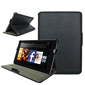 """Kindle Fire HD 7"""" inch Tablet Slim Fit Leather Case Cover (Black) with Multi-Angle Stand and Auto on/off Feature by Supcase (TM) - B591"""