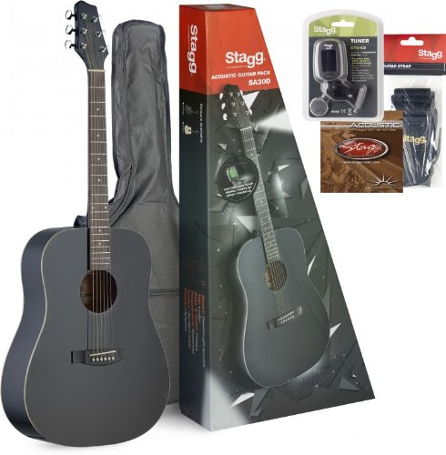Stagg Sa30D-Bk Acoustic Guitar Dread Pack - Black
