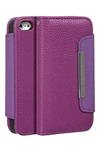 Juppa® Executive Leather Wallet Case with Card Holding Slots, Screen Protector, Carry Strap and Stylus Pen for Apple Iphone 5/ 5S (Purple)