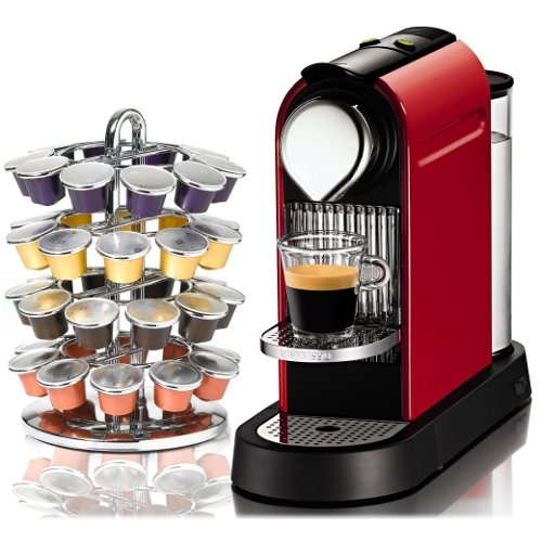 Nespresso CitiZ Red Automatic Espresso Maker with Bonus Chrome 40 Capsule Carousel nespresso indriya from india