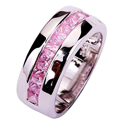 Psiroy 925 Sterling Silver Grace Womens Band Charms Gorgeous 2mm*3mm Emerald Cut Pink Topaz Filled Ring