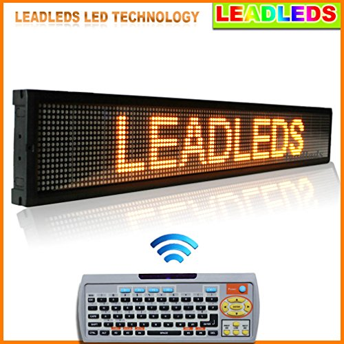 """Leadleds Amber Programmable 40"""" X 6.3"""" Scrolling Led Sign With Pc Software And Remote Access Keyboard"""