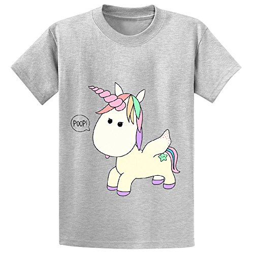 Mcol Unicorn Poop Kid's Crew Neck Short Sleeve Shirts Grey