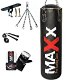 3ft Black Rexion Leather boxing punchbag Ceiling Hook rope & Gloves