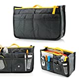 GEARONIC TM Lady Women Travel Insert Organizer Compartment Bag Handbag Purse Large Liner Tidy Bag - Gray