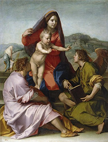 High Quality Polyster Canvas ,the Best Price Art Decorative Prints On Canvas Of Oil Painting 'Sarto Andrea Del The Virgin And Child Between Saint Mathew And An Angel Ca. 1522 ', 20 X 26 Inch / 51 X 67 Cm Is Best For Kids Room Decoration And Home Decoration And Gifts