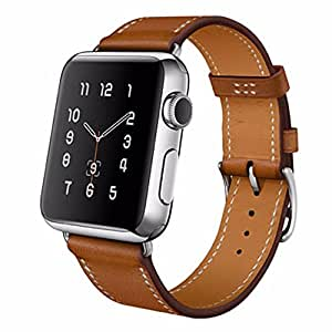 House of Quirk House of Quirk Hermes Long Wrap Apple Watch Strap, Premium Genuine Leather Band for Iwatch, Single Tour Bracelet for Apple Watch Brown