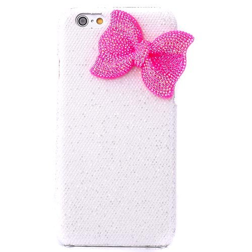 "Semoss 3D Bling Cristallo Fiocco Custodia in Strass per Apple iPhone 6 (4.7"") Cover Rigida con Rose Bowknot Plastica Bumper Protettiva Cover (Bianco)"