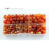 BRCbeads Carnelian Red Agate Natural Gemstone Loose Beads Round Value Box Set 340pcs Per Box for Jewelry Making (Plastic Container is Included)-4,6,8,10mm (Color: Red Agate, Tamaño: 4mm;6mm;8mm;10mm)