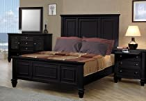 Big Sale 4pc California King Size Bedroom Set Cape Cod Style in Black Finish