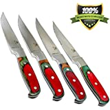 Royal 4-Piece Steak Knife Set, Professional Quality, Stainless Steel Serrated Blade, 9 inch Full-Tang Blades, Multi-Colored Pakka Wood Handles