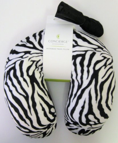 Comparamus - Zebra Print Concierge Micro-Bead Travel Pillow with Carrying Case
