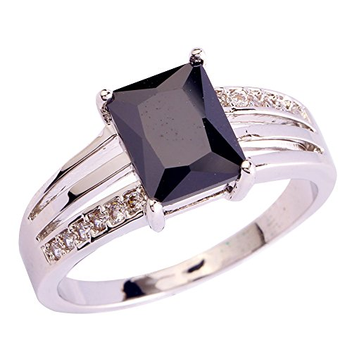 Psiroy 925 Sterling Silver Grace Womens Band Charms Gorgeous 8mm*6mm Emerald Cut Cz Created Black Spinel Filled Ring