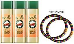 Biotique Carrot Oil - After-bath Oil-120ml - (Pack of 3) - \