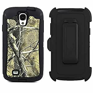 Tecoffer for Samsung Galaxy S4 SIV I9500 With Belt Clip Holster Camo Heavy Duty Shockproof Dirtproof Defender Case Cover w/ Built-in Screen Protector - Black tree